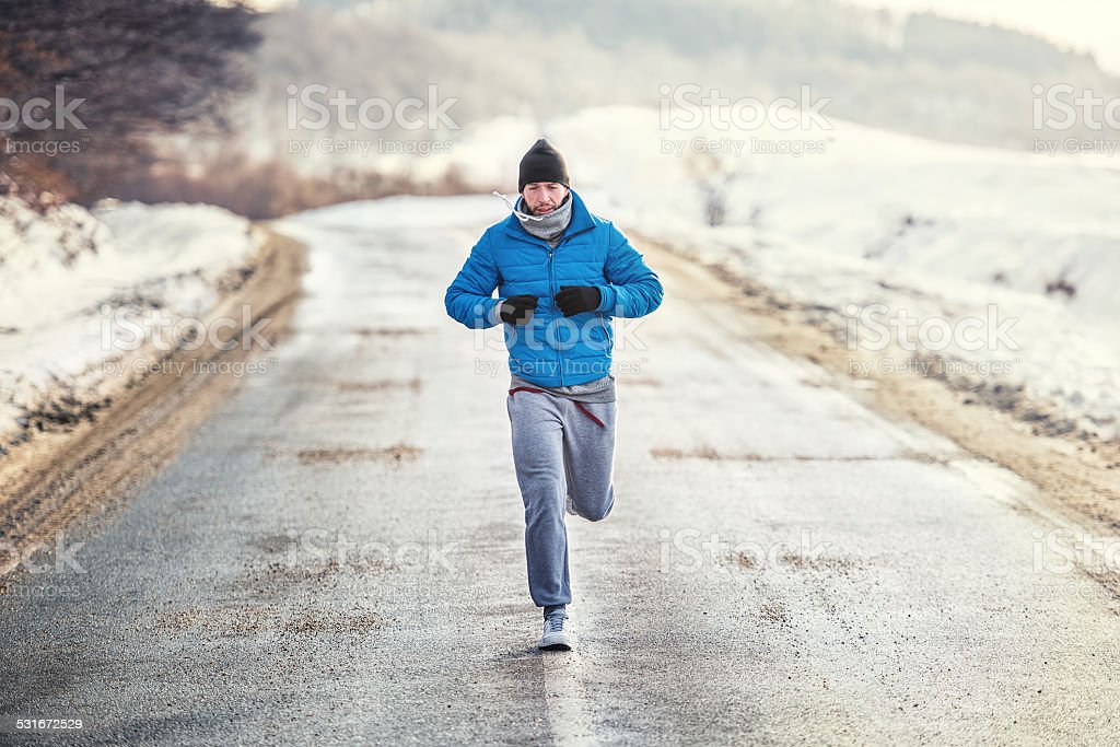 Running athlete man, working out and training for box match stock photo