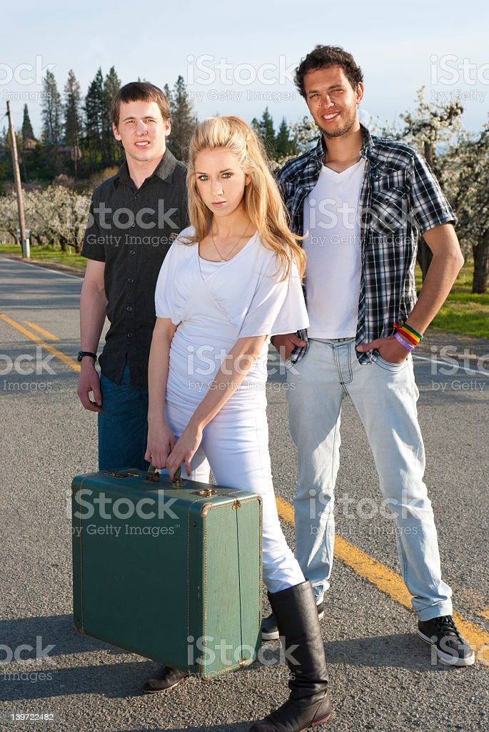 Running Away with The Boys royalty-free stock photo