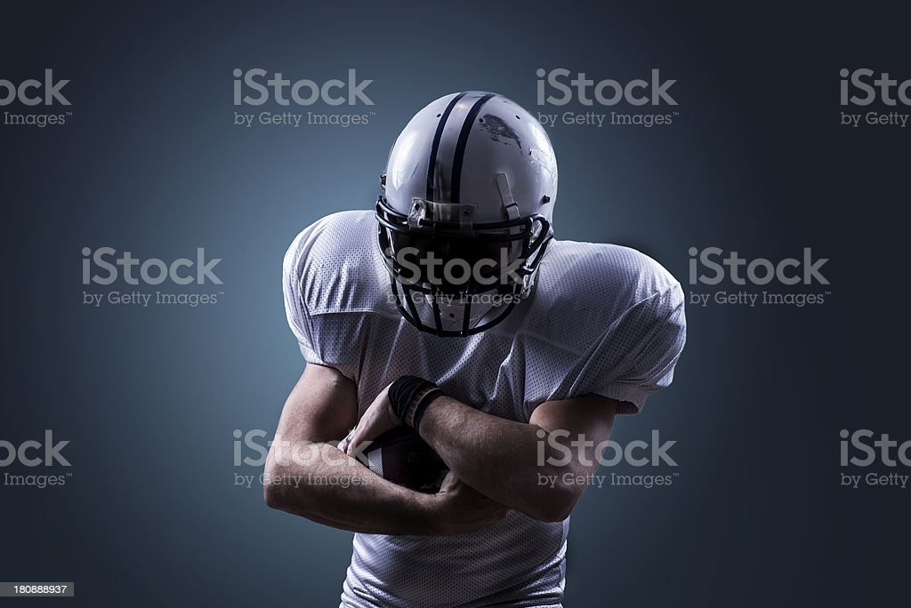 Running Back Catch Ball in Action stock photo