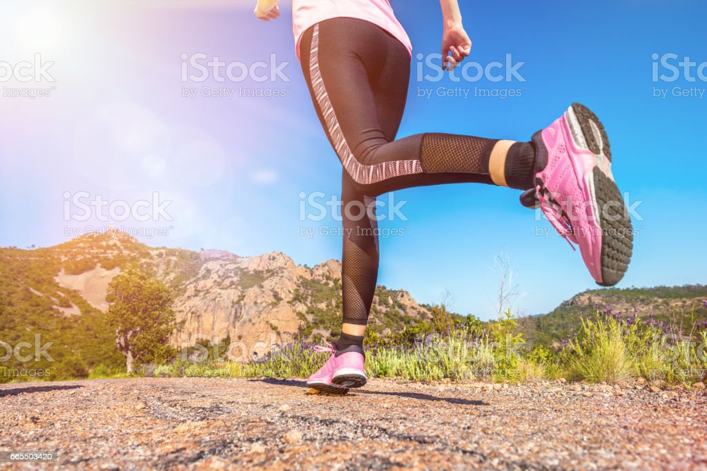 Running & beauty in nature stock photo