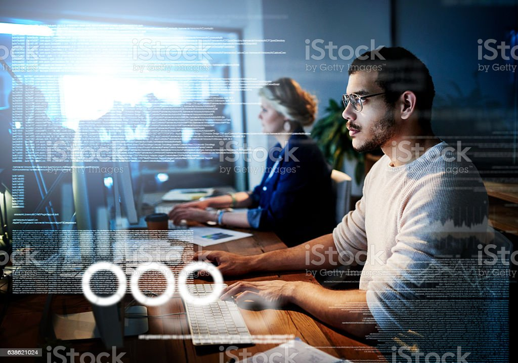 Running code side by side stock photo