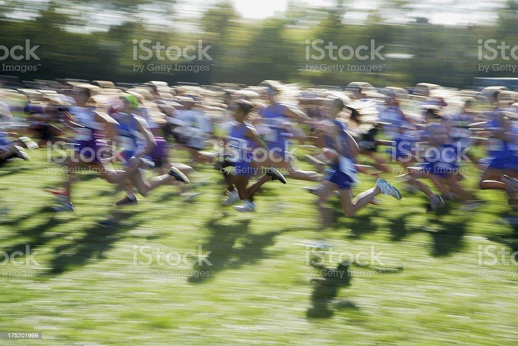 Running cross country girls. stock photo