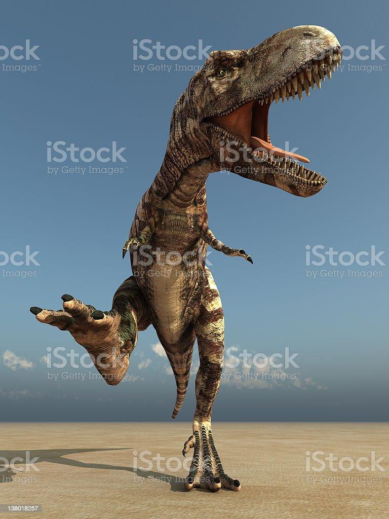 running dinosaur in desert stock photo
