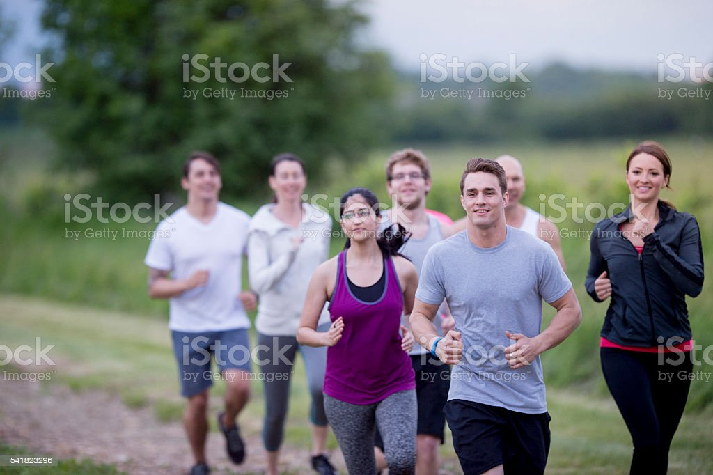 Running Down a Dirt Road stock photo