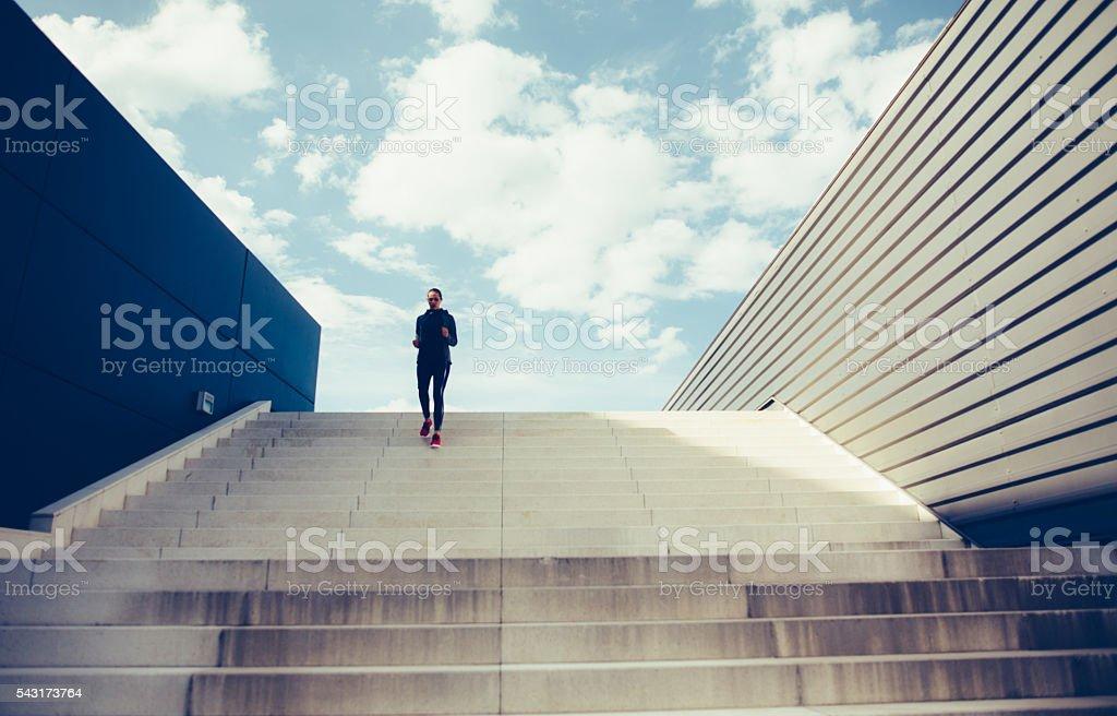 Running Down The Stairs stock photo