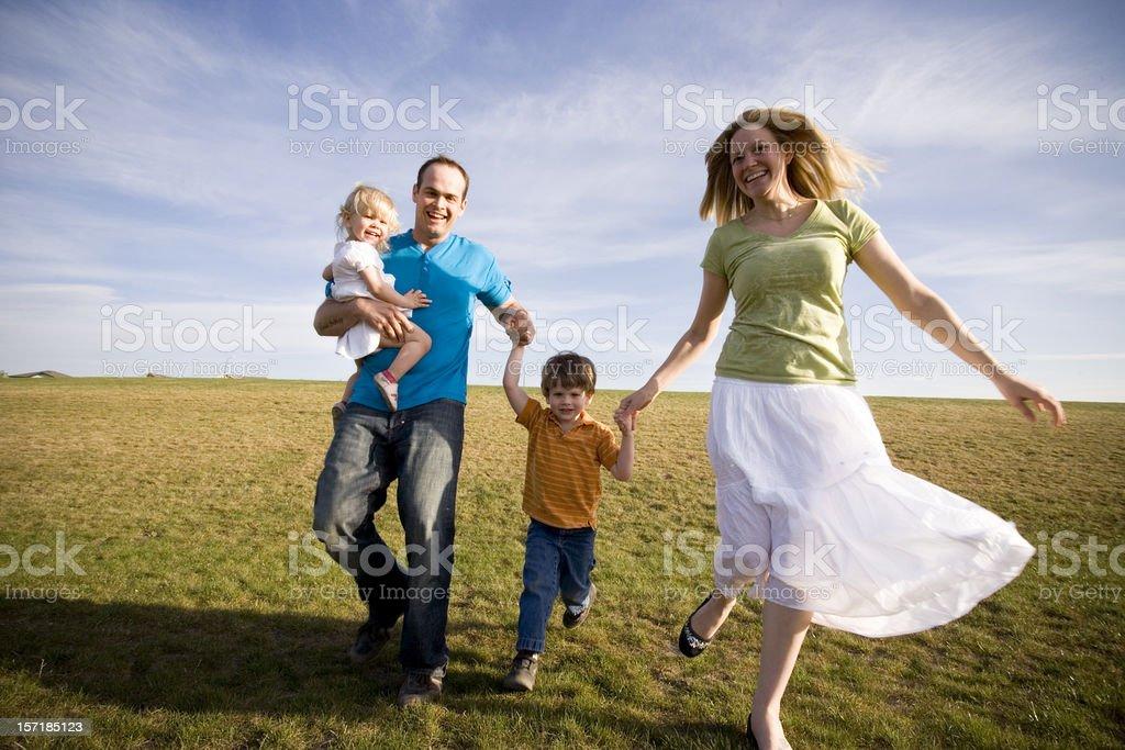 Running Family royalty-free stock photo