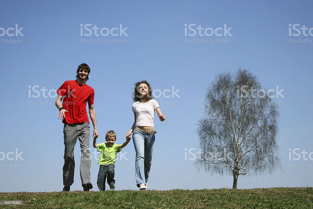 running family. spring. royalty-free stock photo
