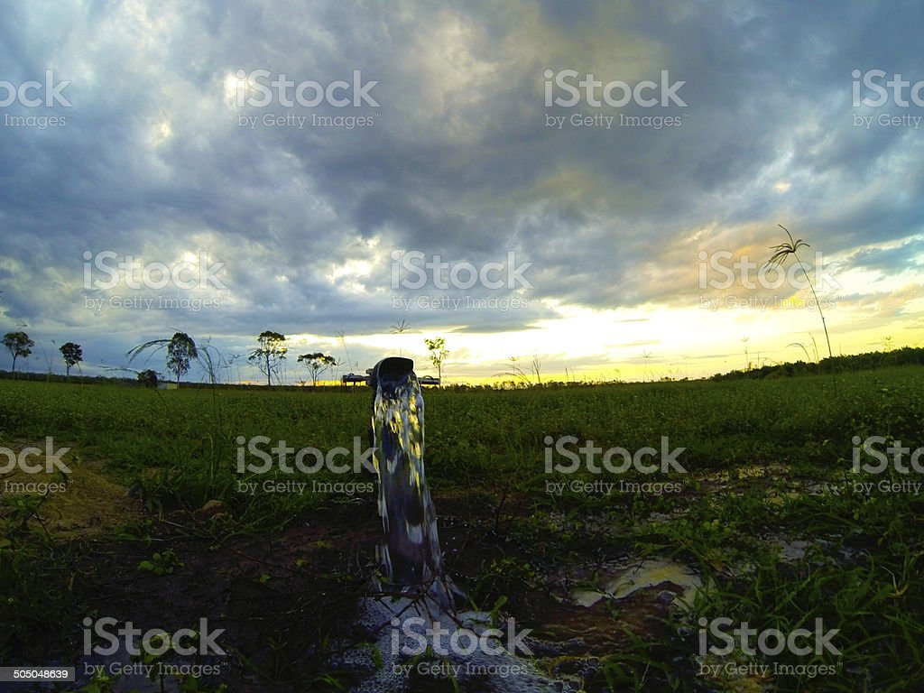 Running faucet in field stock photo