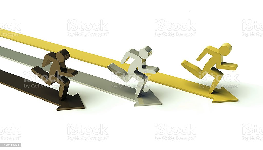 Running figures gold, silver, bronze royalty-free stock photo
