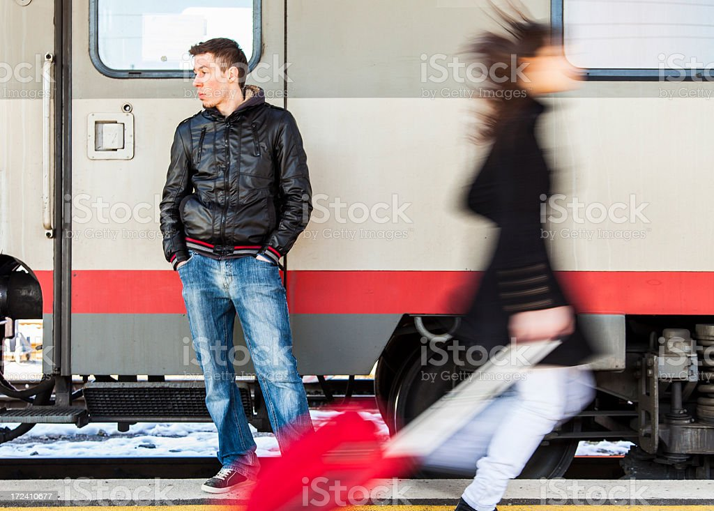Running for the train royalty-free stock photo
