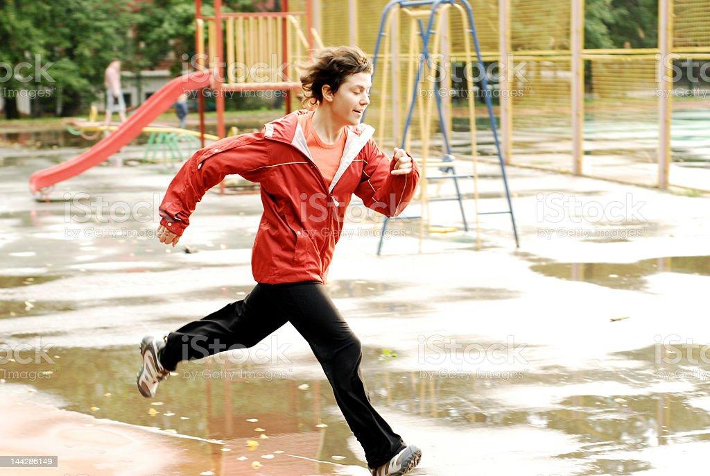 Running girl 3 stock photo