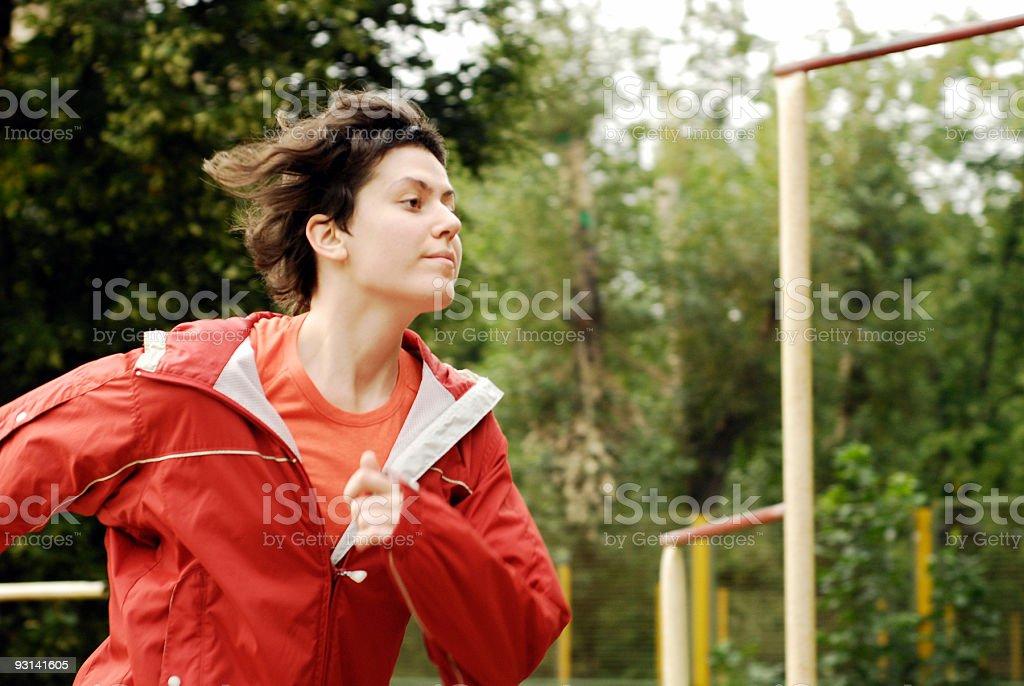Running girl (movement) stock photo