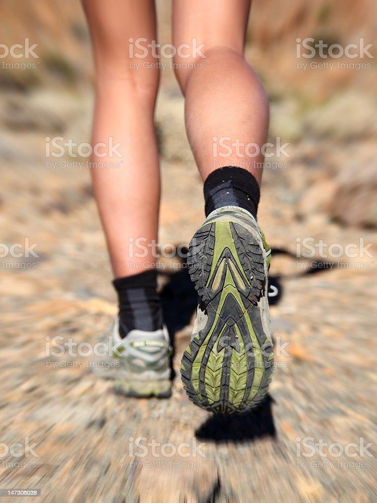 Running in desert stock photo