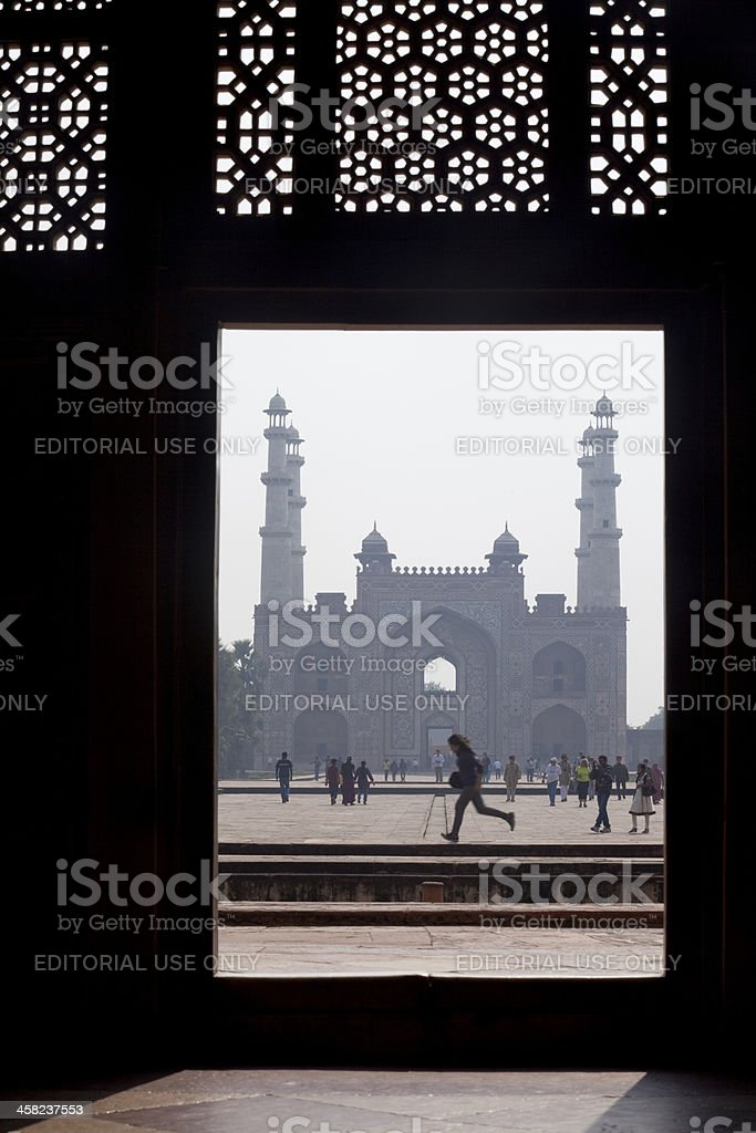Running in front of the Red Fort, Agra, India royalty-free stock photo