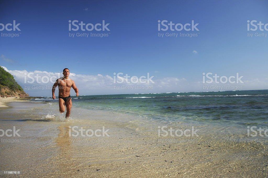 Running in Hawaii royalty-free stock photo