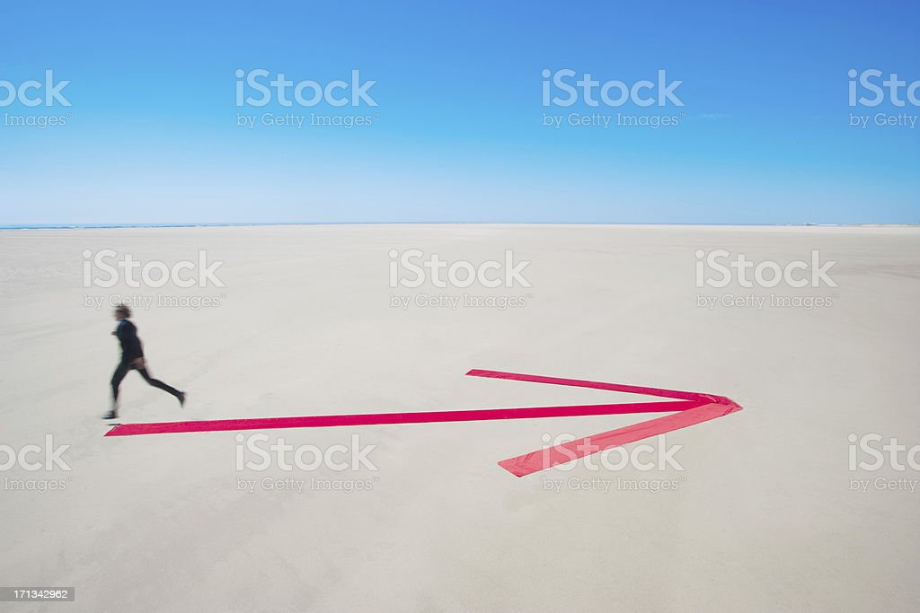 Running in opposite direction stock photo