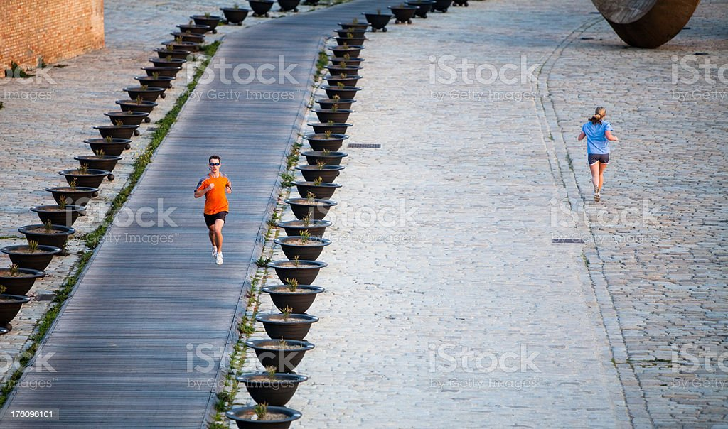 Running in opposite directions royalty-free stock photo