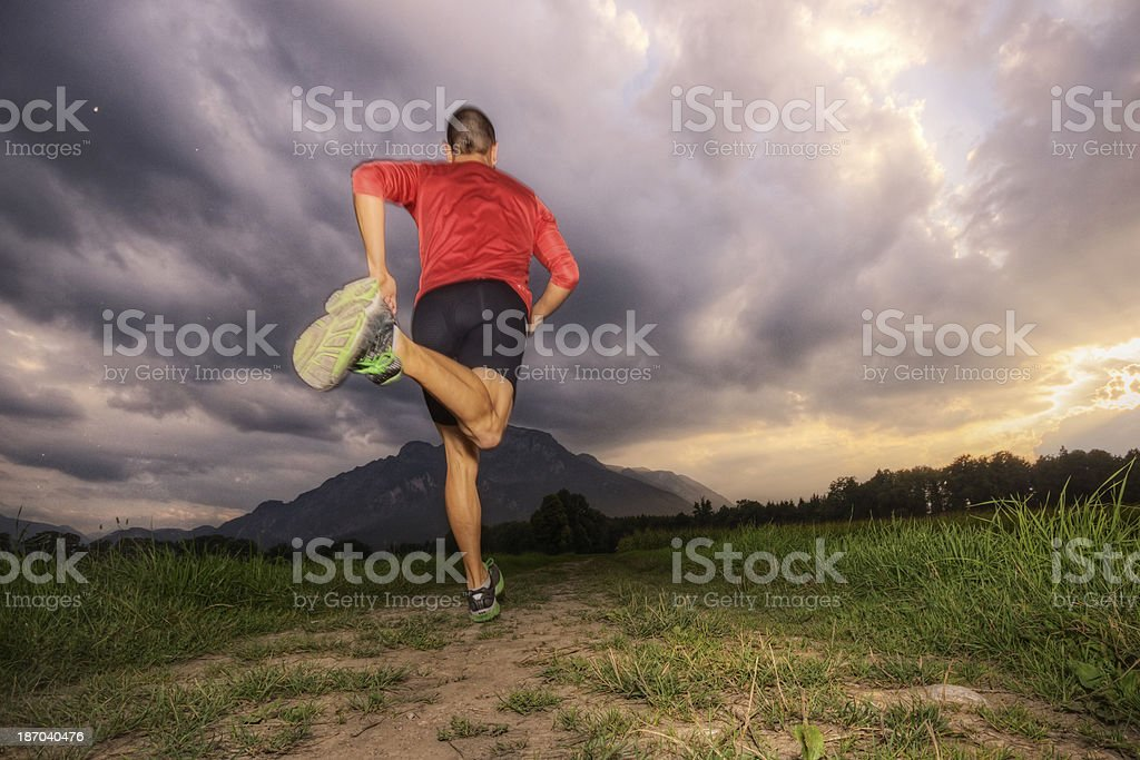 Running in the Alps stock photo