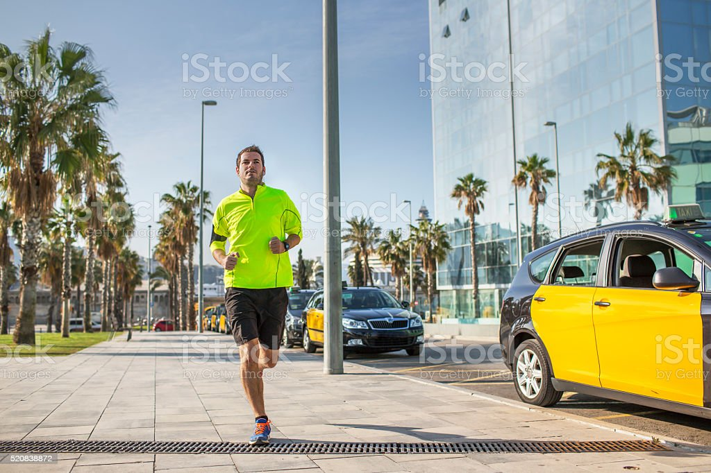 Running in the city stock photo
