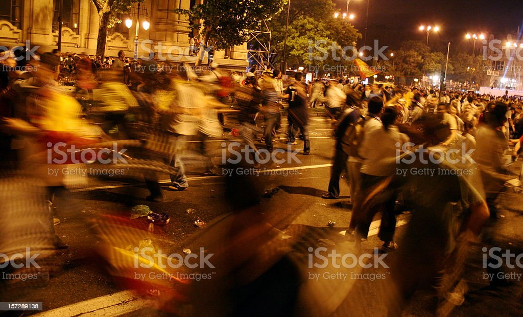 running in the night stock photo