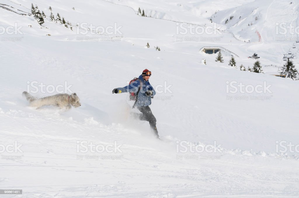 Running in the snow royalty-free stock photo