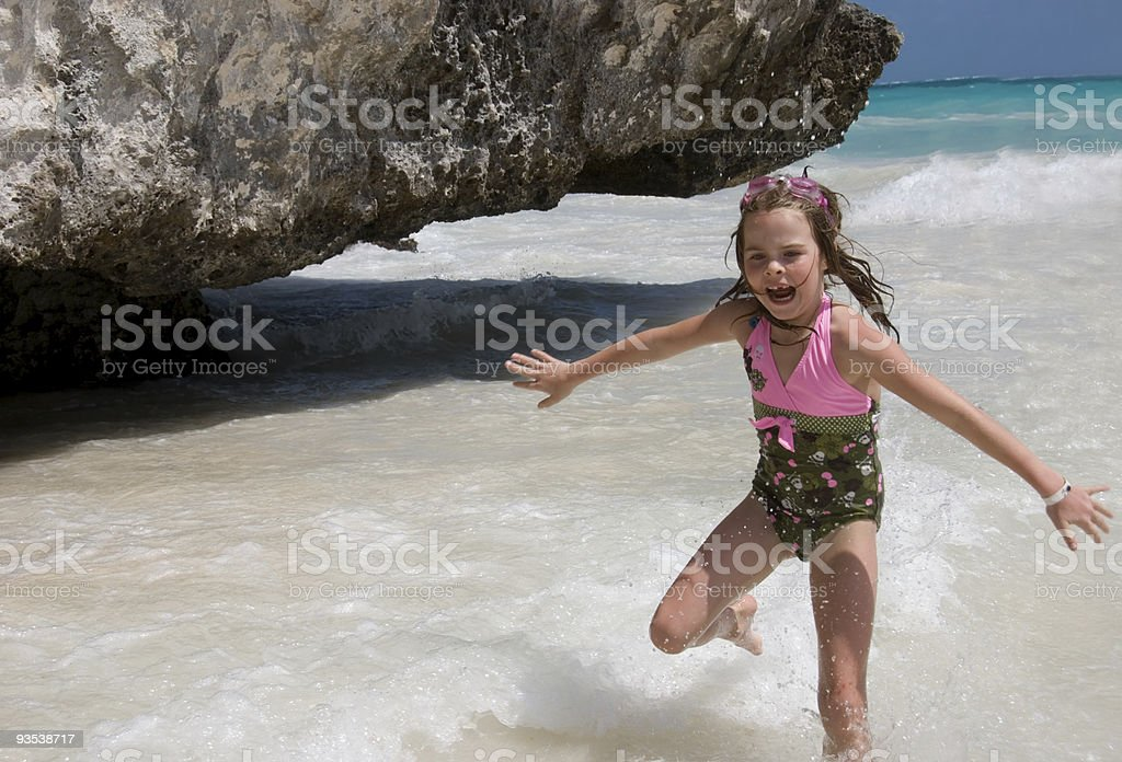 Running in the Waves royalty-free stock photo