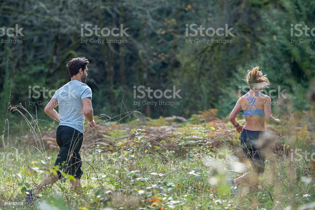 Running in the Woods on a Summer Day stock photo