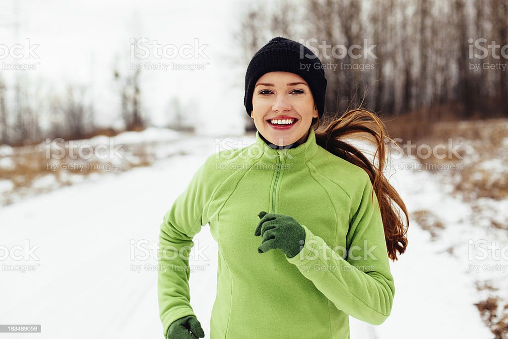 Running in winter stock photo