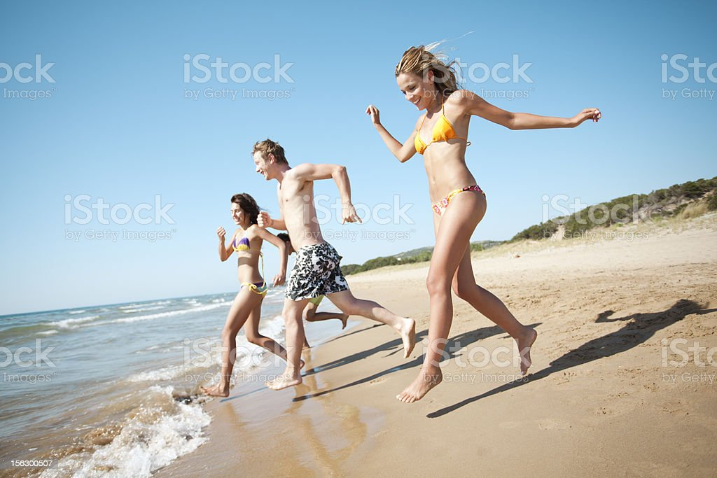 running into the sea royalty-free stock photo