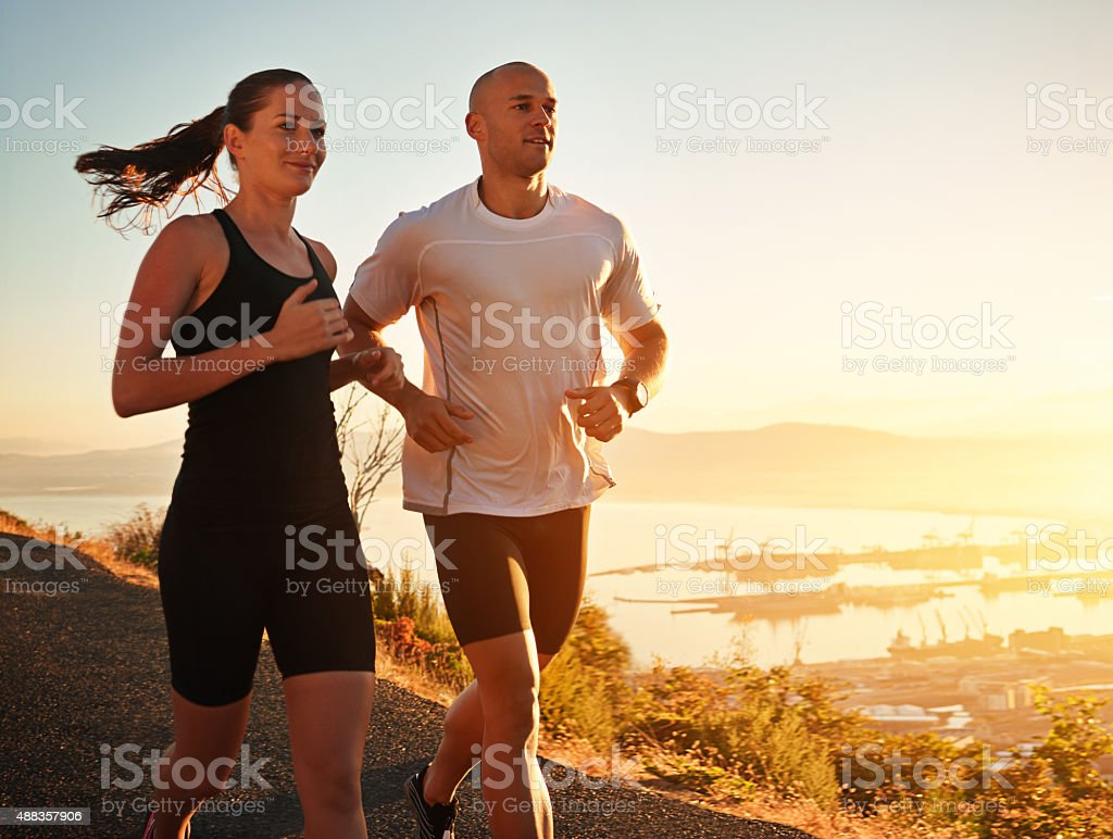 Running is part of their daily routine stock photo