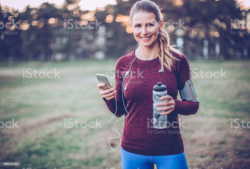 Running is the best idea for end of the day. stock photo