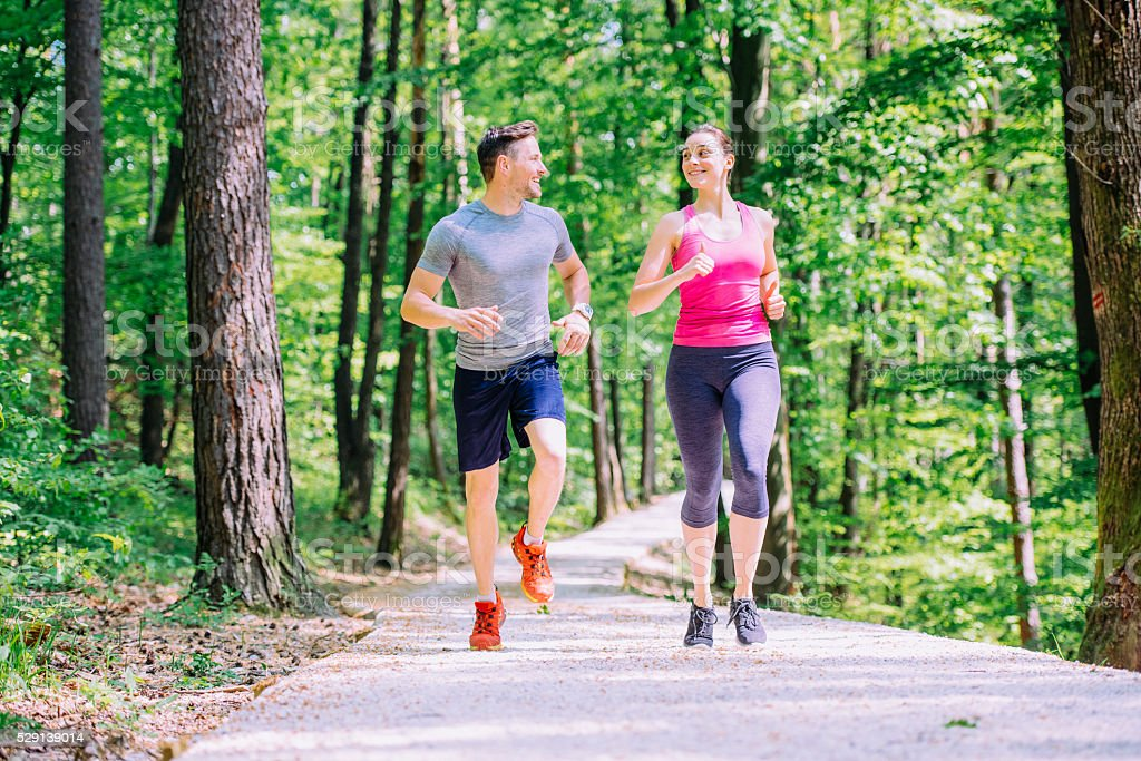 Running is their daily routine stock photo