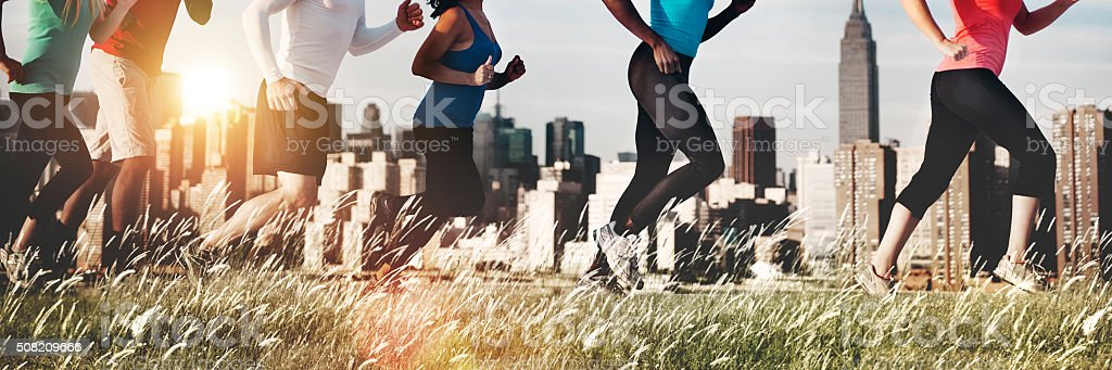 Running Jogging Outdoor Exercise Athlete Healthy Concept stock photo