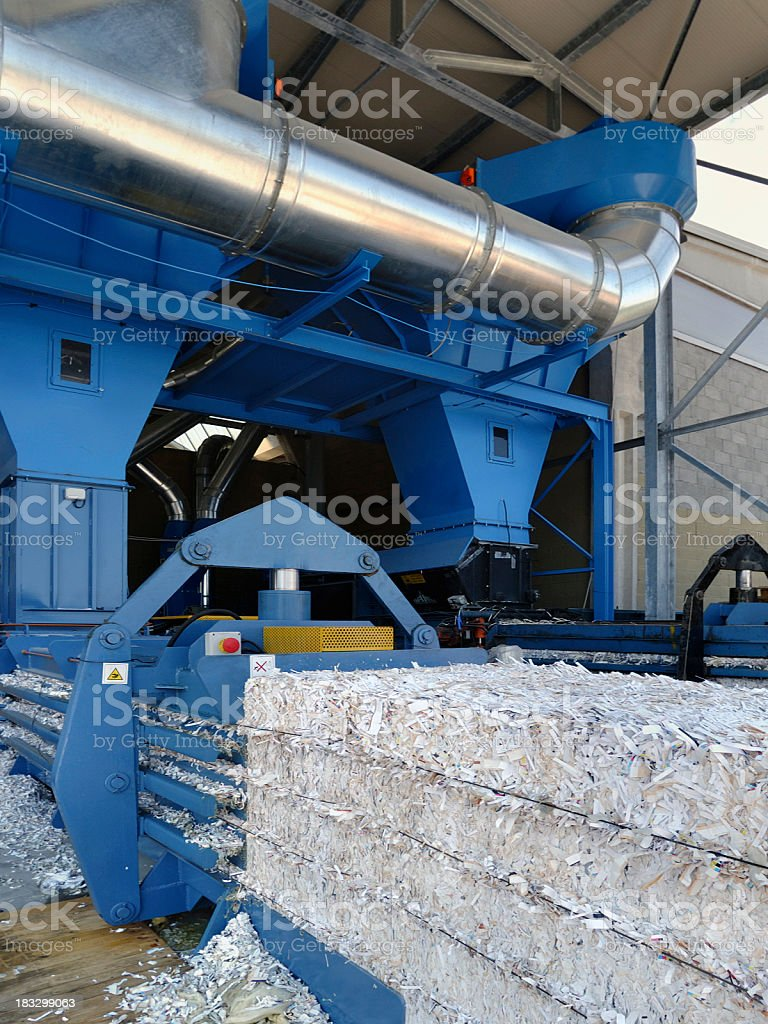 Running machinery for paper recycling royalty-free stock photo