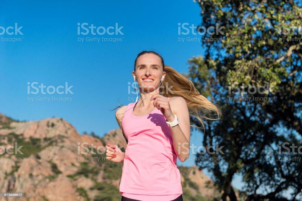 Running make me happier ! stock photo