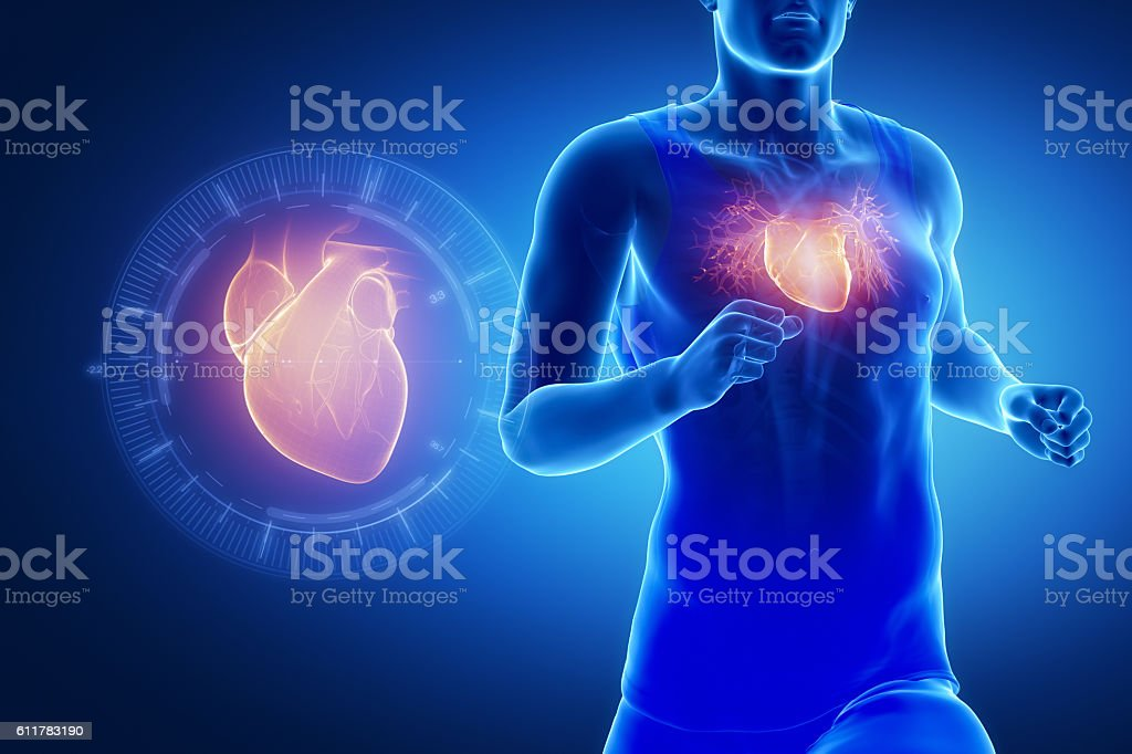 Running man focused on heart stock photo