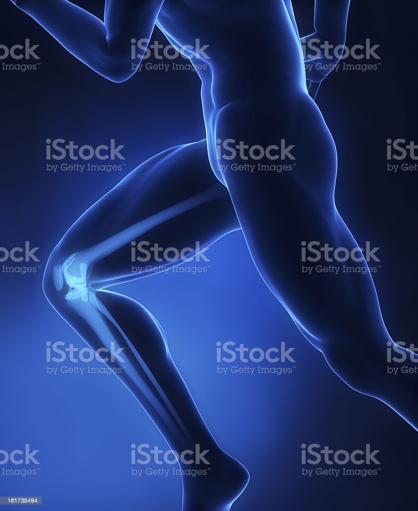 Running man knee anatomy stock photo