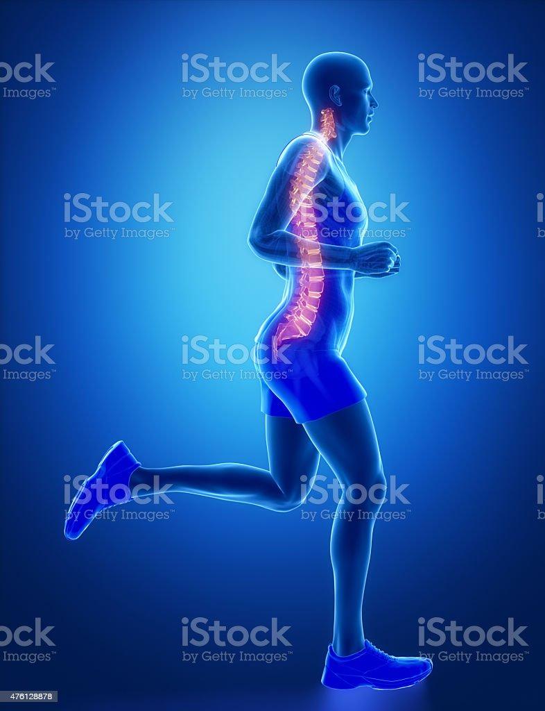 SPINE - running man leg scan in blue stock photo