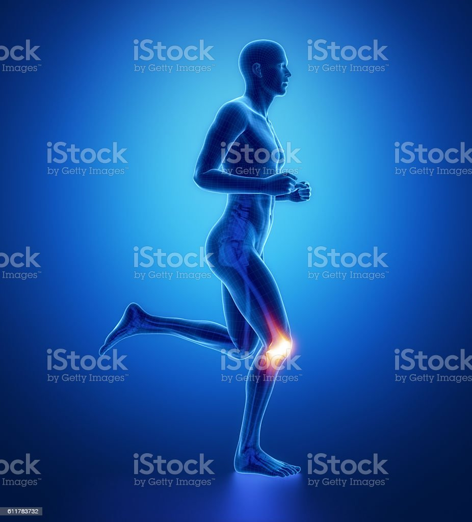 KNEE - running man leg scan in blue stock photo