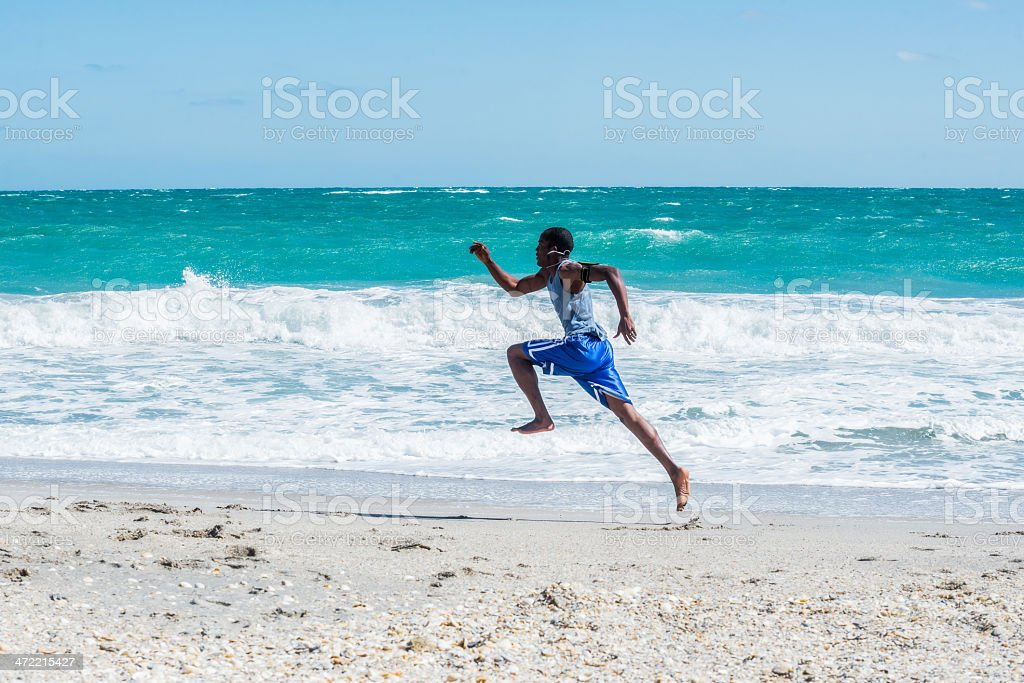 Running Man on Vero Beach stock photo