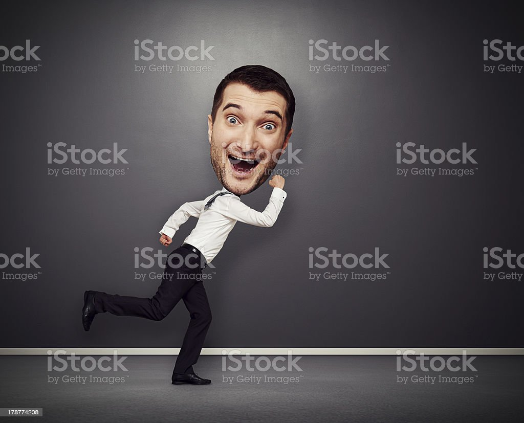 running man with big head stock photo