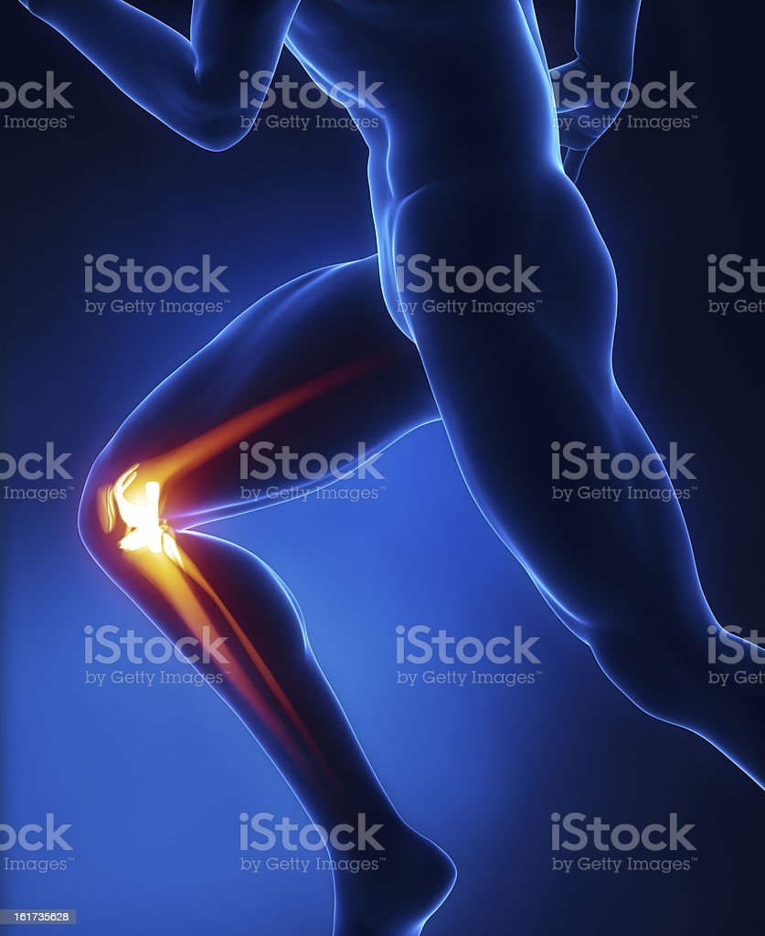 Running man with right knee bones highlighted stock photo