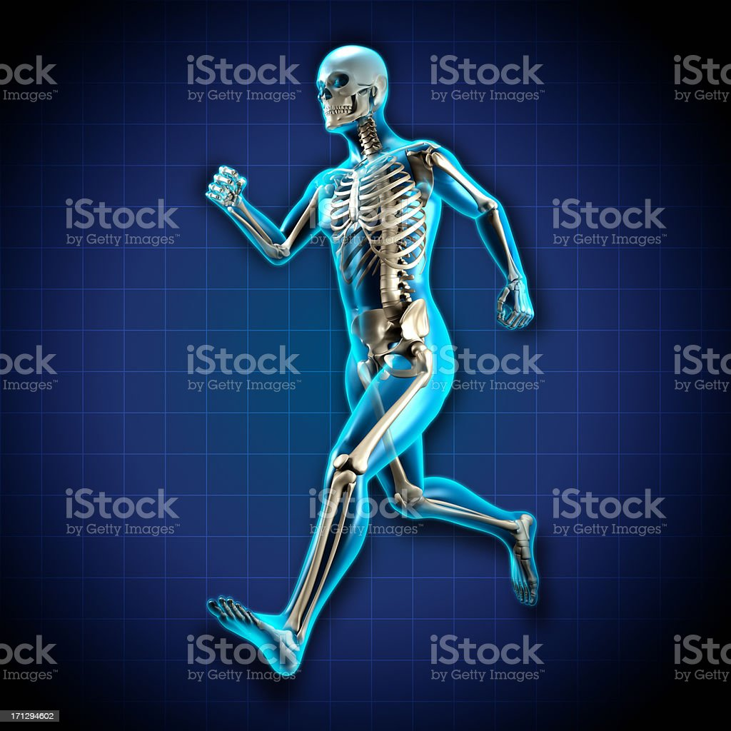 Running man x-ray with skeleton royalty-free stock photo