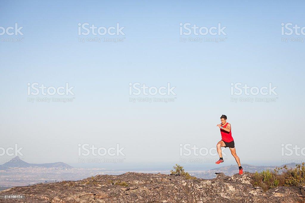 Running on a mountain stock photo