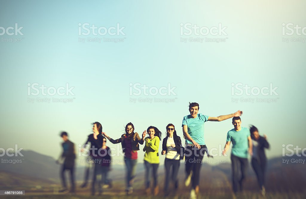 running on field stock photo