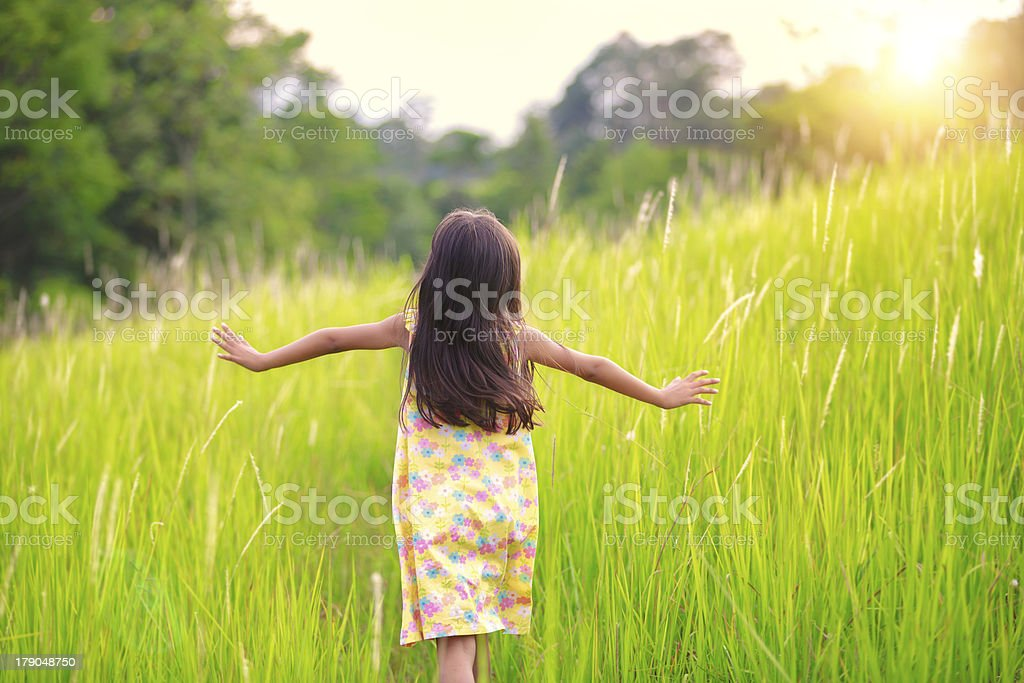 Running on meadow royalty-free stock photo