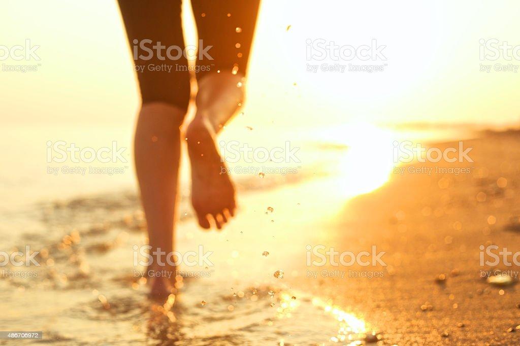 Running on the beach. stock photo