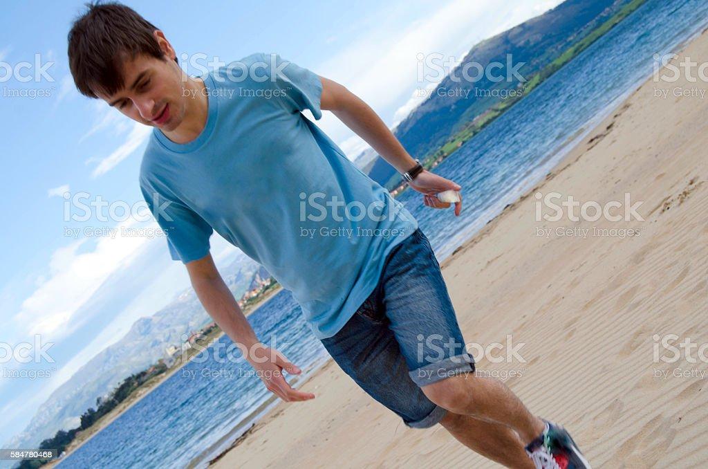 Running on the beach stock photo