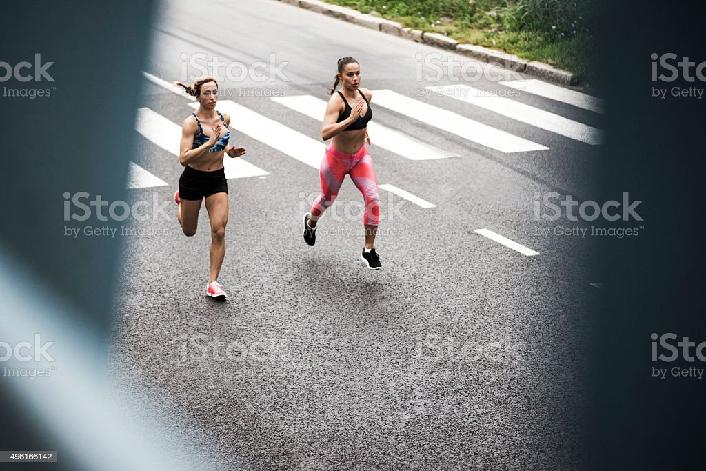 Running on the streets stock photo