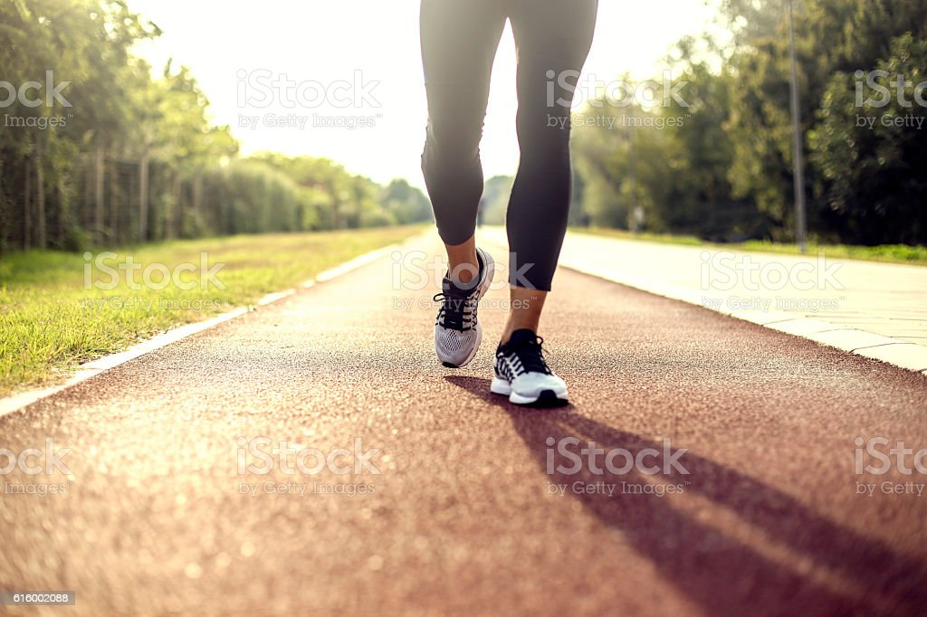 Running on tracks stock photo